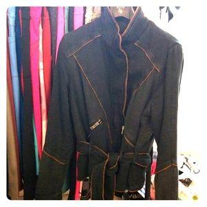 Free People Unique Chic  Denim Belted Jacket